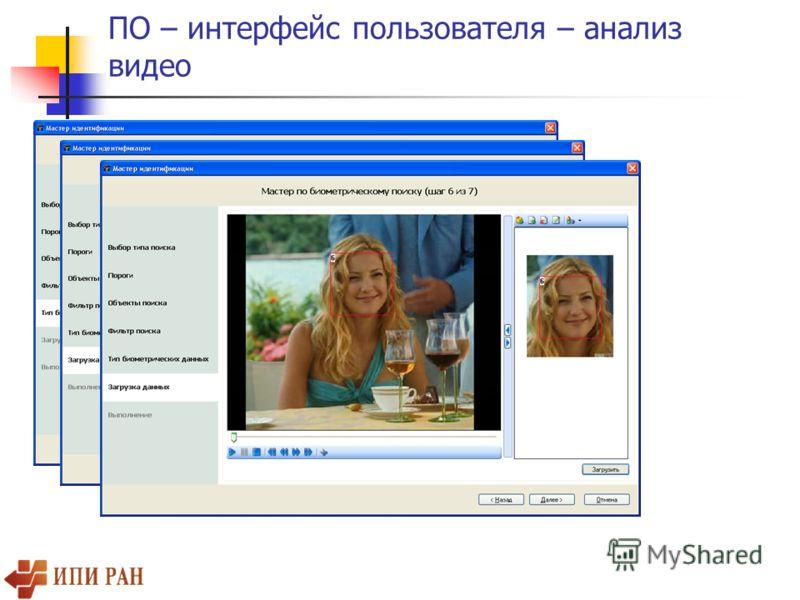 ПО – интерфейс пользователя – анализ видео