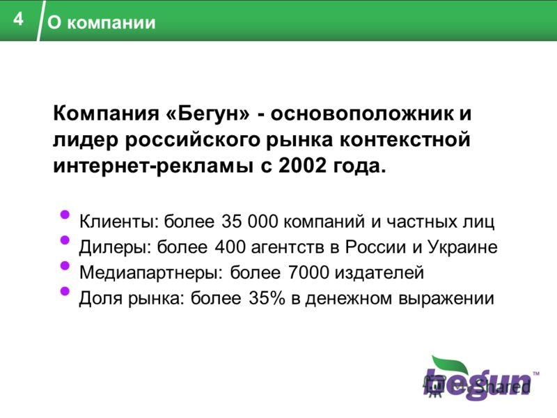 О компании Клиенты: более 35 000 компаний и частных лиц Дилеры: более 400 агентств в России и Украине Медиапартнеры: более 7000 издателей Доля рынка: более 35% в денежном выражении 4 Компания «Бегун» - основоположник и лидер российского рынка контекс