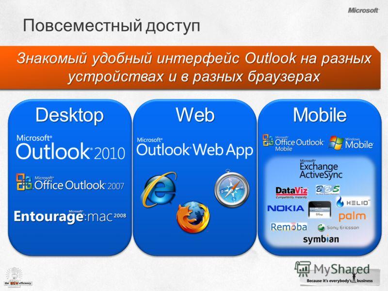 Знакомый удобный интерфейс Outlook на разных устройствах и в разных браузерах DesktopWebMobile