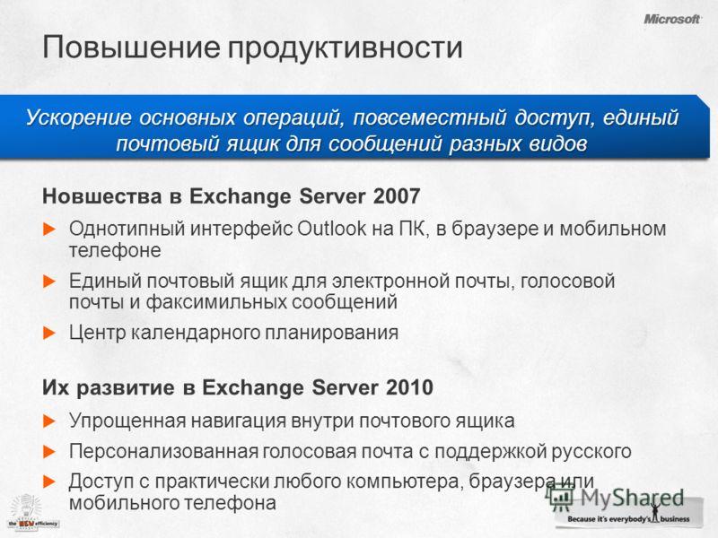 Ускорение основных операций, повсеместный доступ, единый почтовый ящик для сообщений разных видов