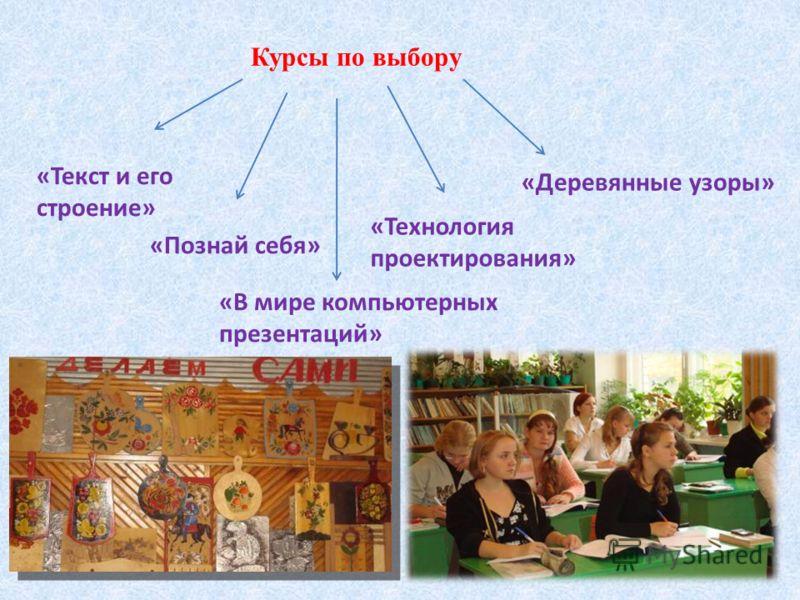 Курсы по выбору «Текст и его строение» «Познай себя» «Технология проектирования» «Деревянные узоры» «В мире компьютерных презентаций»