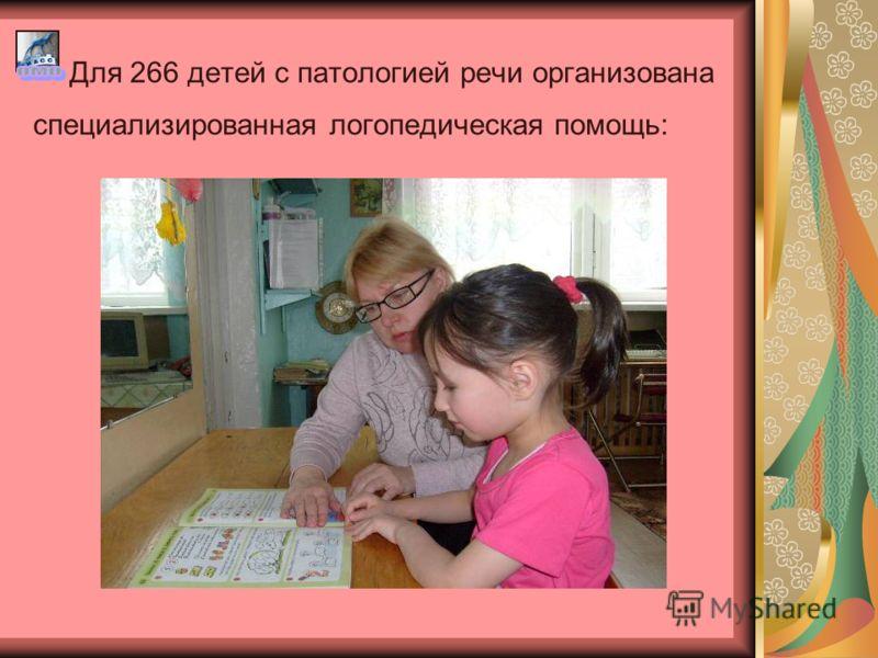 Для 266 детей с патологией речи организована специализированная логопедическая помощь: