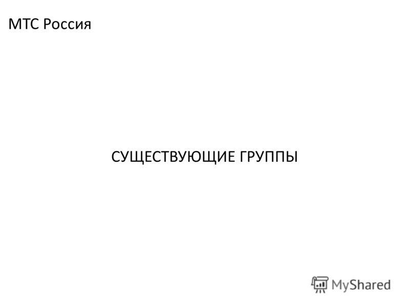 СУЩЕСТВУЮЩИЕ ГРУППЫ МТС Россия