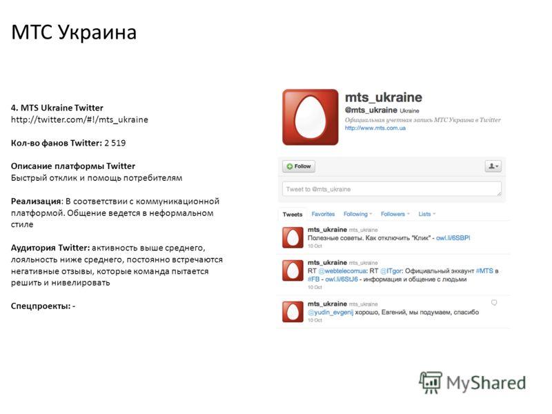 МТС Украина 4. MTS Ukraine Twitter http://twitter.com/#!/mts_ukraine Кол-во фанов Twitter: 2 519 Описание платформы Twitter Быстрый отклик и помощь потребителям Реализация: В соответствии с коммуникационной платформой. Общение ведется в неформальном