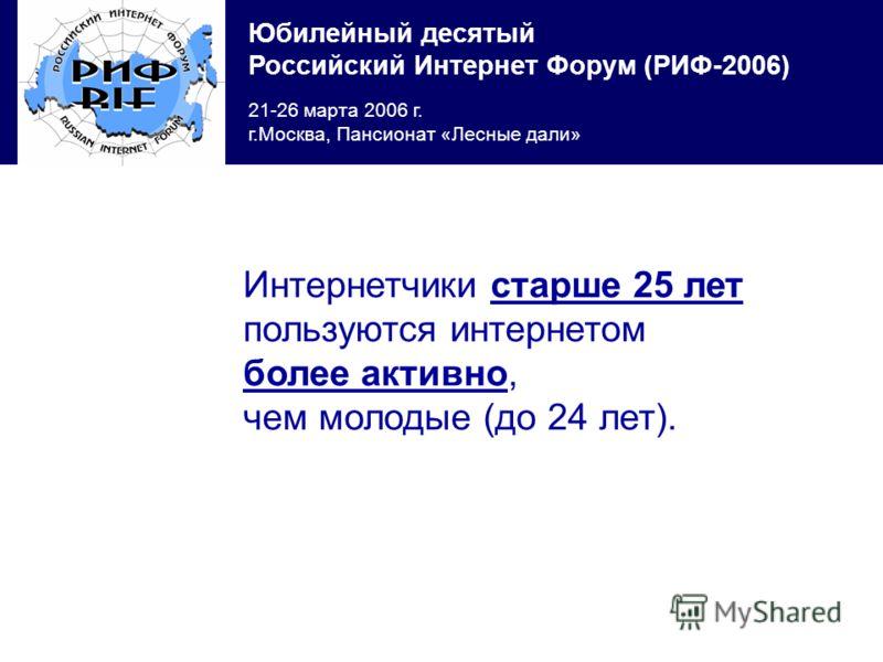 Юбилейный десятый Российский Интернет Форум (РИФ-2006) 21-26 марта 2006 г. г.Москва, Пансионат «Лесные дали» Интернетчики старше 25 лет пользуются интернетом более активно, чем молодые (до 24 лет).