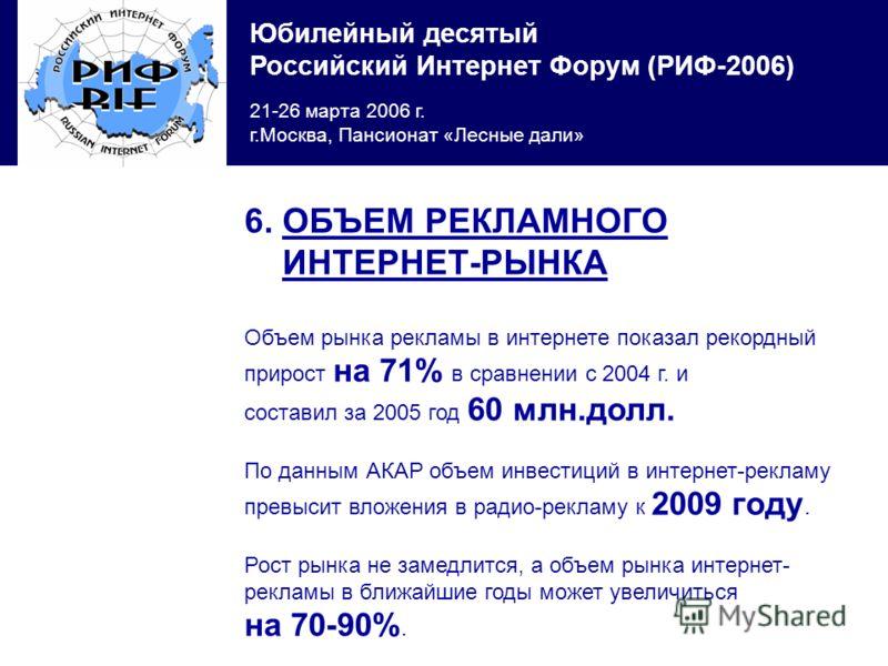 Юбилейный десятый Российский Интернет Форум (РИФ-2006) 21-26 марта 2006 г. г.Москва, Пансионат «Лесные дали» 6. ОБЪЕМ РЕКЛАМНОГО ИНТЕРНЕТ-РЫНКА Объем рынка рекламы в интернете показал рекордный прирост на 71% в сравнении с 2004 г. и составил за 2005
