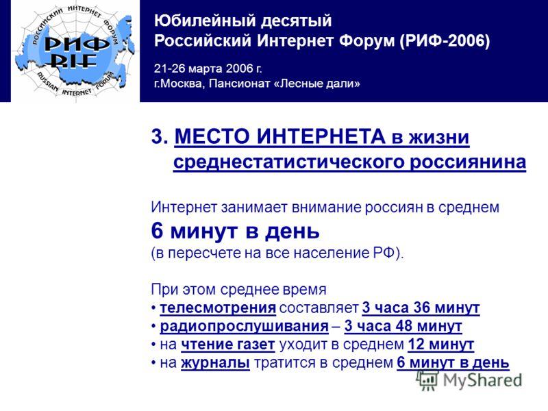 Юбилейный десятый Российский Интернет Форум (РИФ-2006) 21-26 марта 2006 г. г.Москва, Пансионат «Лесные дали» 3. МЕСТО ИНТЕРНЕТА в жизни среднестатистического россиянина Интернет занимает внимание россиян в среднем 6 минут в день (в пересчете на все н