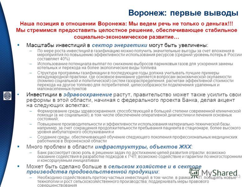 13 Воронеж: первые выводы Масштабы инвестиций в сектор энергетики могут быть увеличены: –По мере роста инвестиций в газификацию можно получить значительные выгоды за счет вложения в мероприятия по повышению эффективности использования ресурсов (средн