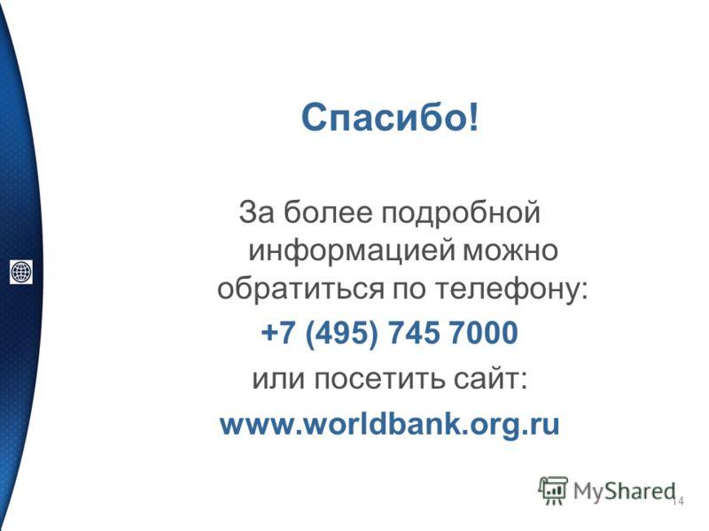 14 Спасибо! За более подробной информацией можно обратиться по телефону: +7 (495) 745 7000 или посетить сайт: www.worldbank.org.ru