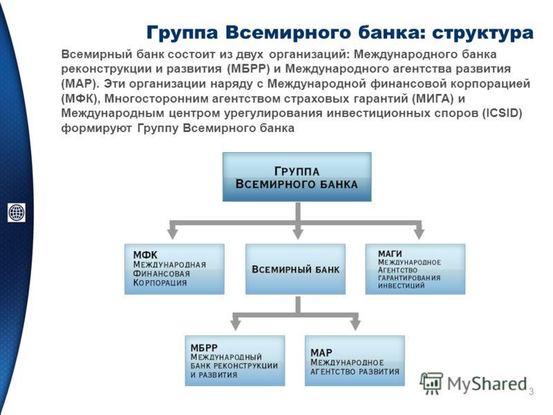 3 Группа Всемирного банка: структура Всемирный банк состоит из двух организаций: Международного банка реконструкции и развития (МБРР) и Международного агентства развития (МАР). Эти организации наряду с Международной финансовой корпорацией (МФК), Мног