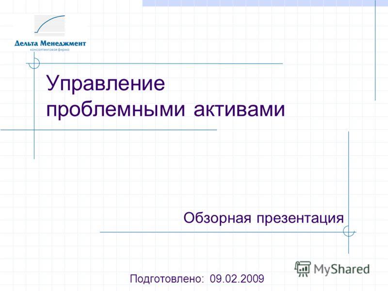 Управление проблемными активами Обзорная презентация Подготовлено: 09.02.2009