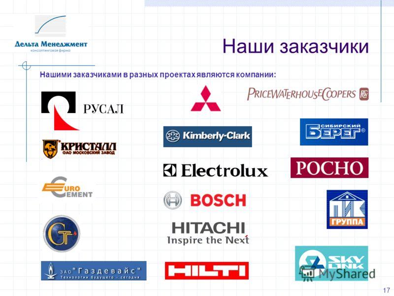 Наши заказчики Нашими заказчиками в разных проектах являются компании: 17
