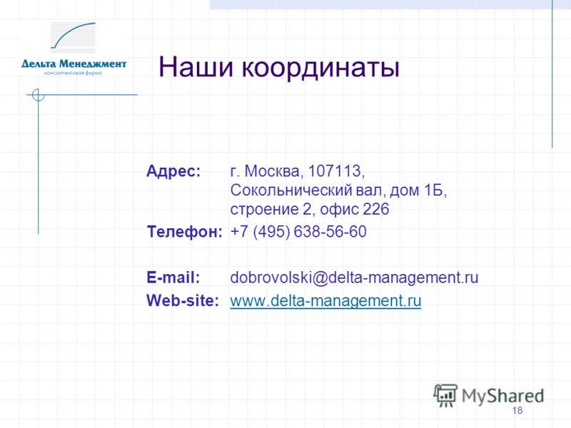 Адрес:г. Москва, 107113, Сокольнический вал, дом 1Б, строение 2, офис 226 Телефон:+7 (495) 638-56-60 E-mail: dobrovolski@delta-management.ru Web-site:www.delta-management.ruwww.delta-management.ru Наши координаты 18