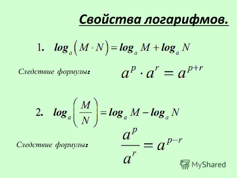 Следствие формулы : Свойства логарифмов.
