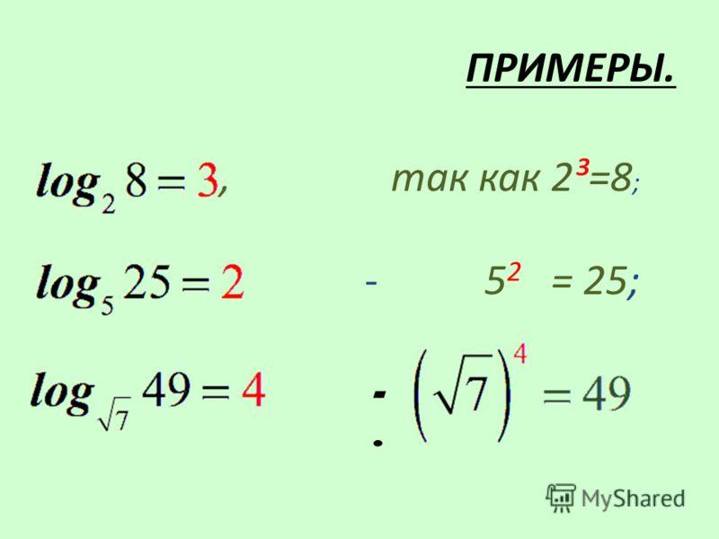 ПРИМЕРЫ., так как 2³=8 ; - 5 2 = 25; -.-.