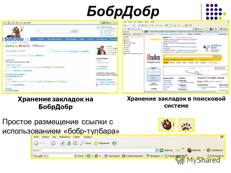 БобрДобр Хранение закладок на БобрДобр Хранение закладок в поисковой системе Простое размещение ссылки с использованием «бобр-тулбара»