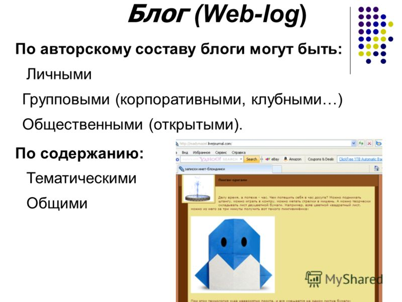 Блог (Web-log) По авторскому составу блоги могут быть: Личными Групповыми (корпоративными, клубными…) Общественными (открытыми). По содержанию: Тематическими Общими