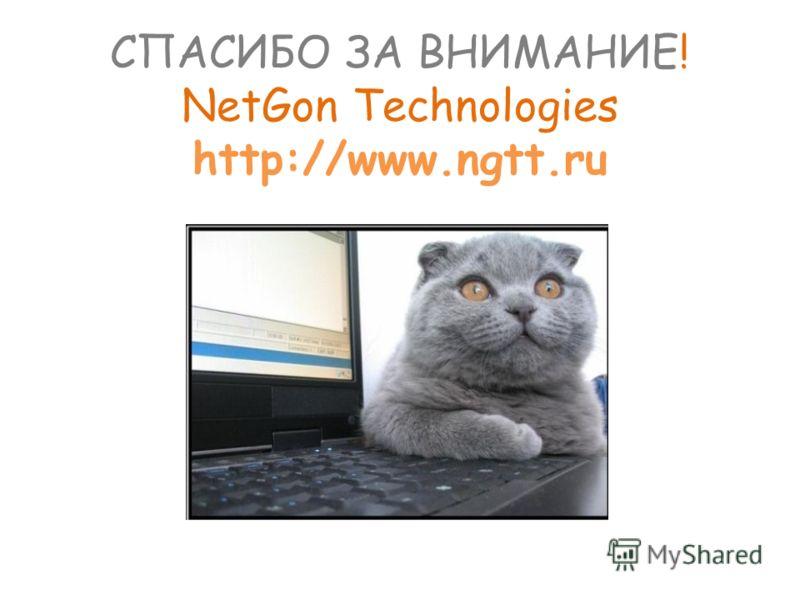 СПАСИБО ЗА ВНИМАНИЕ! NetGon Technologies http://www.ngtt.ru
