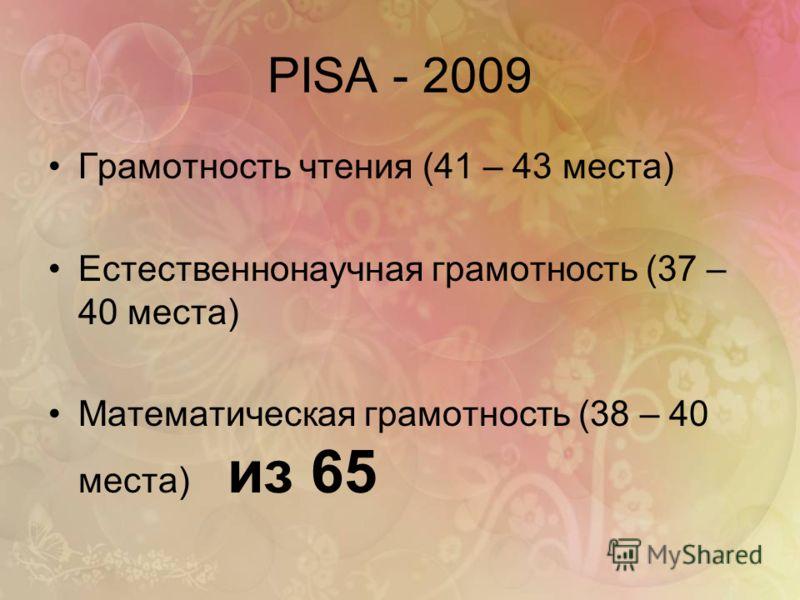 PISA - 2009 Грамотность чтения (41 – 43 места) Естественнонаучная грамотность (37 – 40 места) Математическая грамотность (38 – 40 места) из 65