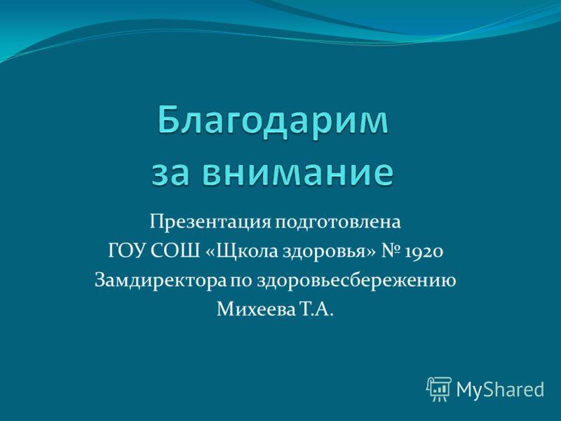 Презентация подготовлена ГОУ СОШ «Щкола здоровья» 1920 Замдиректора по здоровьесбережению Михеева Т.А.