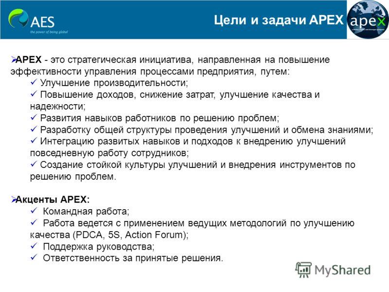 Цели и задачи APEX APEX - это стратегическая инициатива, направленная на повышение эффективности управления процессами предприятия, путем: Улучшение производительности; Повышение доходов, снижение затрат, улучшение качества и надежности; Развития нав
