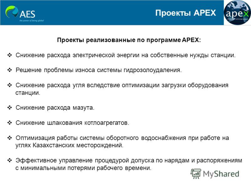 Проекты APEX Проекты реализованные по программе APEX: Снижение расхода электрической энергии на собственные нужды станции. Решение проблемы износа системы гидрозолоудаления. Снижение расхода угля вследствие оптимизации загрузки оборудования станции.