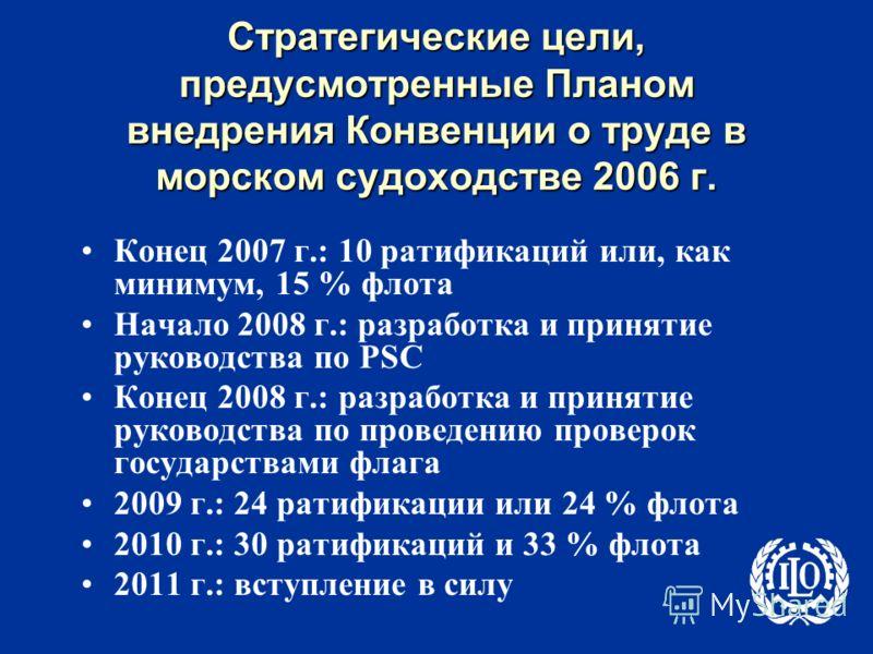 Стратегические цели, предусмотренные Планом внедрения Конвенции о труде в морском судоходстве 2006 г. Конец 2007 г.: 10 ратификаций или, как минимум, 15 % флота Начало 2008 г.: разработка и принятие руководства по PSC Конец 2008 г.: разработка и прин