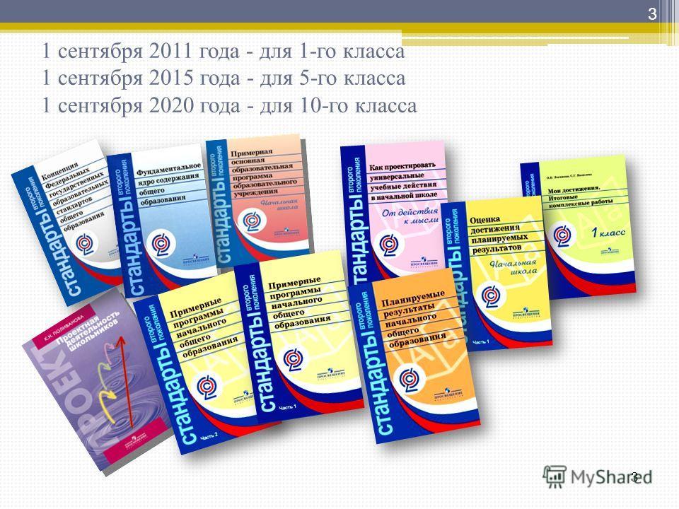 1 сентября 2011 года - для 1-го класса 1 сентября 2015 года - для 5-го класса 1 сентября 2020 года - для 10-го класса 3 3
