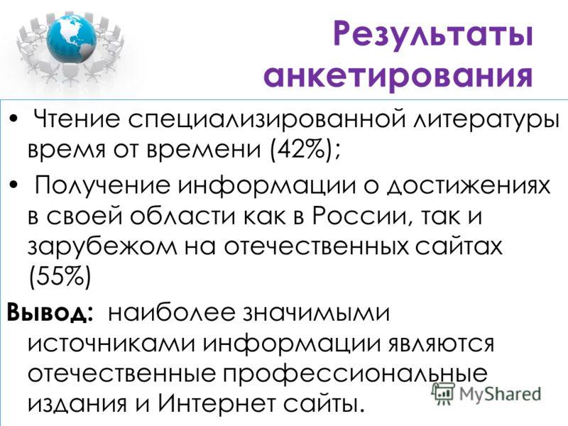 Результаты анкетирования Чтение специализированной литературы время от времени (42%); Получение информации о достижениях в своей области как в России, так и зарубежом на отечественных сайтах (55%) Вывод: наиболее значимыми источниками информации явля