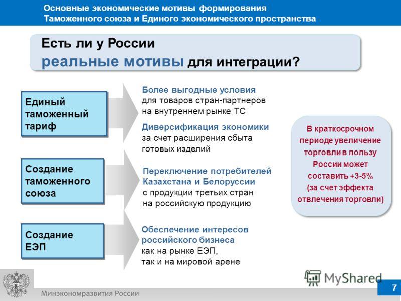 7 Более выгодные условия для товаров стран-партнеров на внутреннем рынке ТС Диверсификация экономики за счет расширения сбыта готовых изделий В краткосрочном периоде увеличение торговли в пользу России может составить +3-5% (за счет эффекта отвлечени