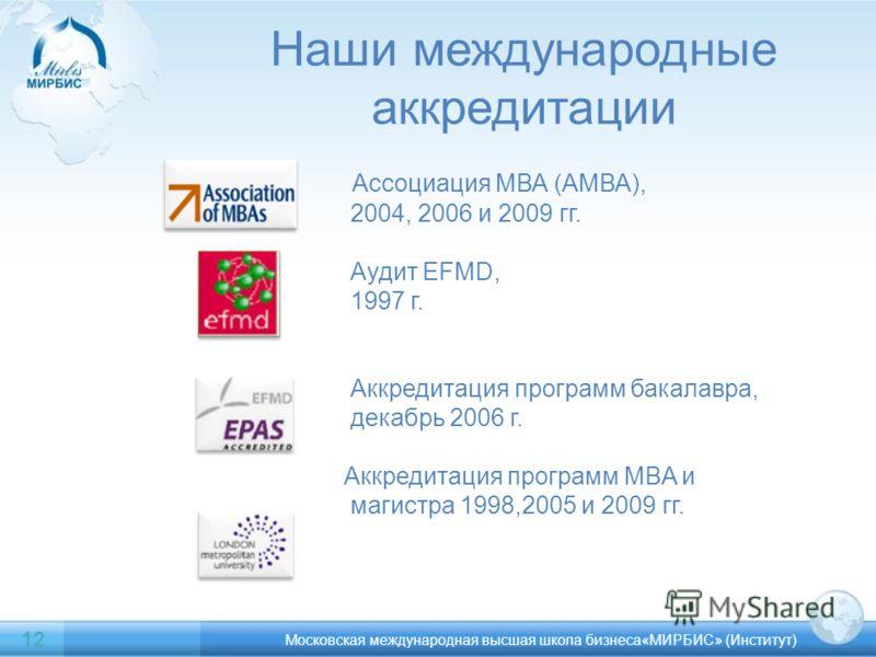 Наши международные аккредитации Ассоциация МВА (АМВА), 2004, 2006 и 2009 гг. Аудит EFMD, 1997 г. Аккредитация программ бакалавра, декабрь 2006 г. Аккредитация программ MBA и магистра 1998,2005 и 2009 гг. Московская международная высшая школа бизнеса«