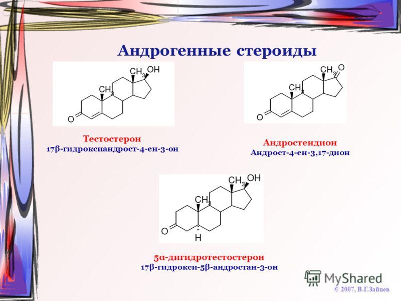 Андрогенные стероиды © 2007, В.Г.Зайцев Тестостерон 17β-гидроксиандрост-4-ен-3-он Андростендион Андрост-4-ен-3,17-дион 5α-дигидротестостерон 17β-гидрокси-5β-андростан-3-он