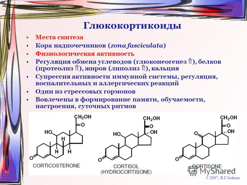 Глюкокортикоиды Места синтеза Кора надпочечников (zona fasciculata) Физиологическая активность Регуляция обмена углеводов (глюконеогенез ), белков (протеолиз ), жиров (липолиз ), кальция Супрессия активности иммунной системы, регуляция, воспалительны