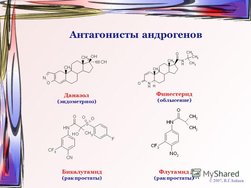 Антагонисты андрогенов © 2007, В.Г.Зайцев Даназол (эндометриоз) Финестерид (облысение) Бикалутамид (рак простаты) Флутамид (рак простаты)