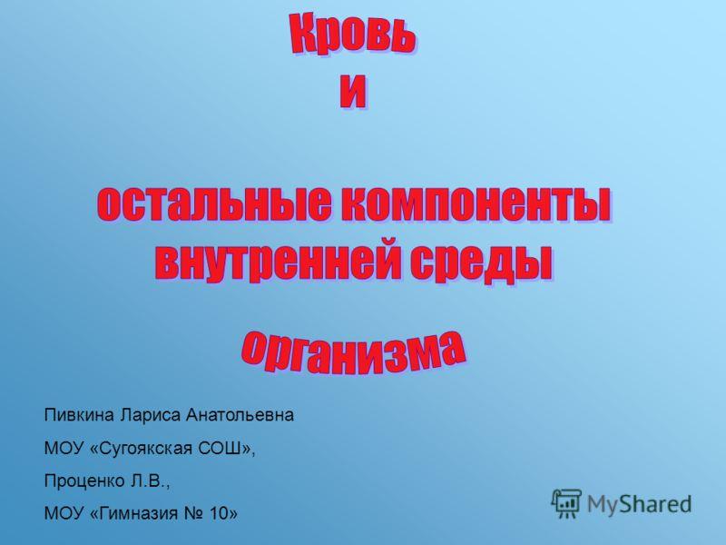Пивкина Лариса Анатольевна МОУ «Сугоякская СОШ», Проценко Л.В., МОУ «Гимназия 10»