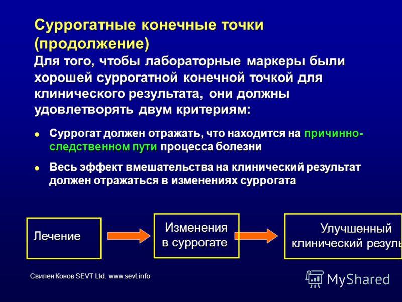 Свилен Конов SEVT Ltd. www.sevt.info Суррогатные конечные точки (продолжение) Для того, чтобы лабораторные маркеры были хорошей суррогатной конечной точкой для клинического результата, они должны удовлетворять двум критериям: l Суррогат должен отража