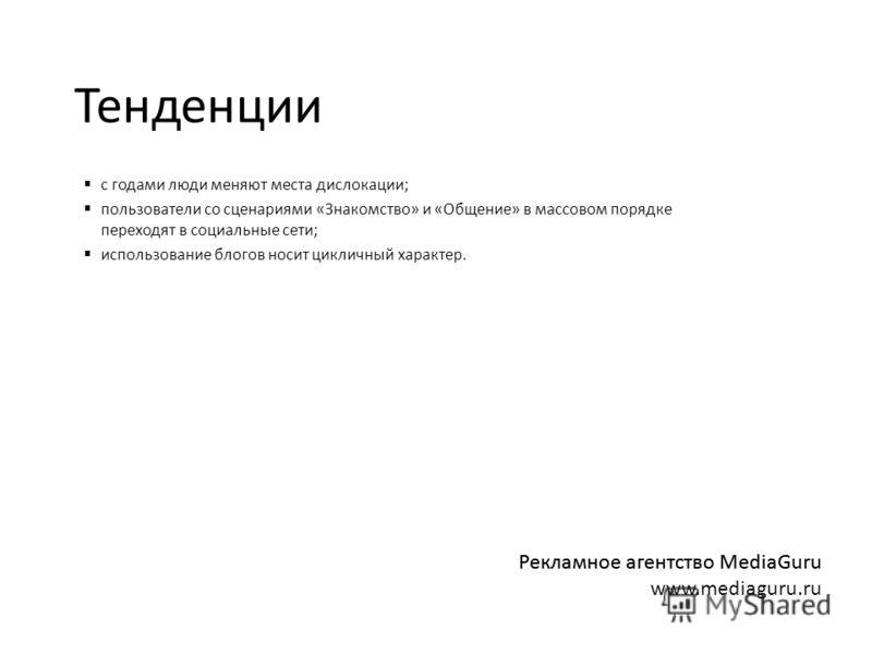 Тенденции с годами люди меняют места дислокации; пользователи со сценариями «Знакомство» и «Общение» в массовом порядке переходят в социальные сети; использование блогов носит цикличный характер. Рекламное агентство MediaGuru www.mediaguru.ru