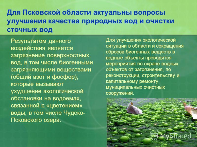Для Псковской области актуальны вопросы улучшения качества природных вод и очистки сточных вод Результатом данного воздействия является загрязнение поверхностных вод, в том числе биогенными загрязняющими веществами (общий азот и фосфор), которые вызы