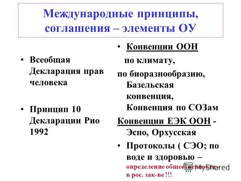 Международные принципы, соглашения – элементы ОУ Всеобщая Декларация прав человека Принцип 10 Декларации Рио 1992 Конвенции ООН по климату, по биоразнообразию, Базельская конвенция, Конвенция по СОЗам Конвенции ЕЭК ООН - Эспо, Орхусская Протоколы ( С