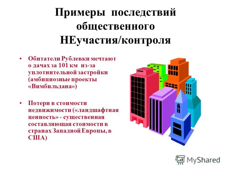 Примеры последствий общественного НЕучастия/контроля Обитатели Рублевки мечтают о дачах за 101 км из-за уплотнительной застройки (амбициозные проекты «Вимбильдана») Потери в стоимости недвижимости («ландшафтная ценность» - существенная составляющая с