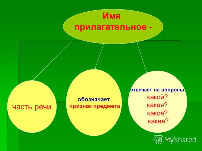 Имя прилагательное - часть речи обозначает признак предмета отвечает на вопросы какой? какая? какое? какие?