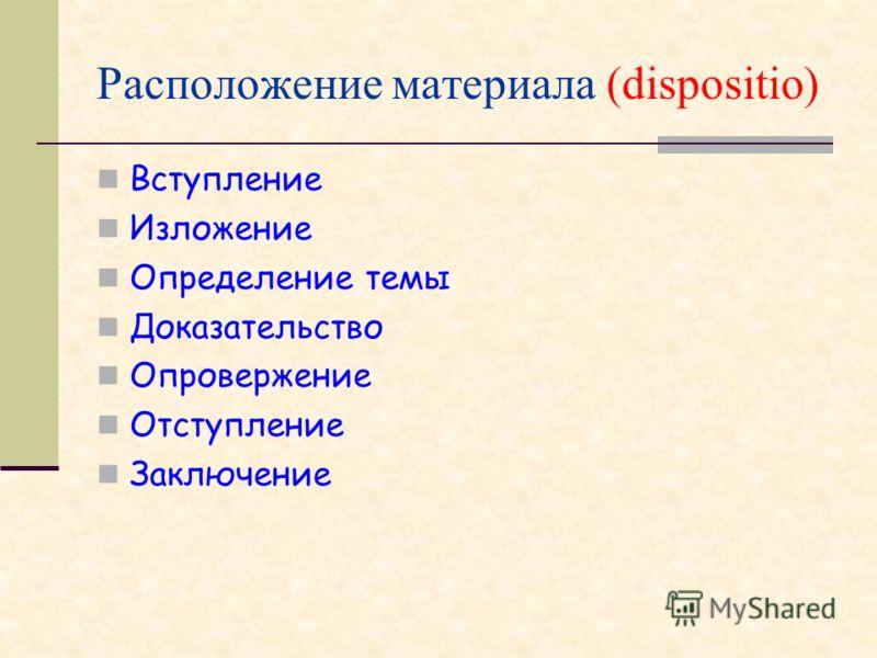 Расположение материала (dispositio) Вступление Изложение Определение темы Доказательство Опровержение Отступление Заключение
