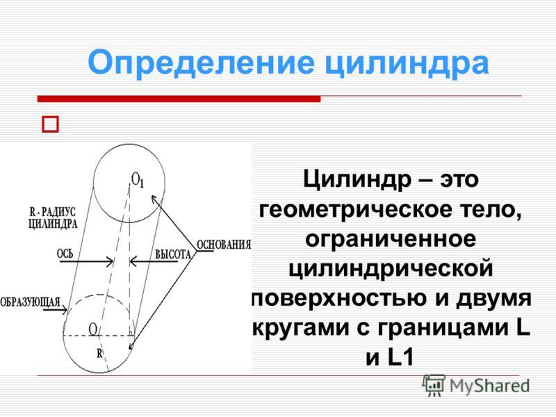 Определение цилиндра Цилиндр – это геометрическое тело, ограниченное цилиндрической поверхностью и двумя кругами с границами L и L1
