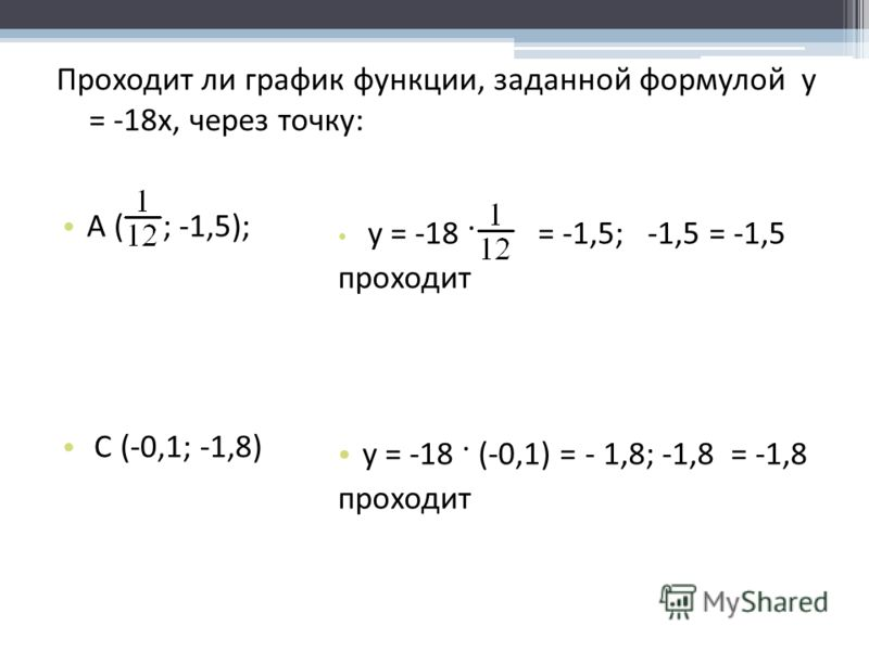 Проходит ли график функции, заданной формулой у = -18x, через точку: А ( ; -1,5); С (-0,1; -1,8) у = -18 · = -1,5; -1,5 = -1,5 проходит у = -18 · (-0,1) = - 1,8; -1,8 = -1,8 проходит