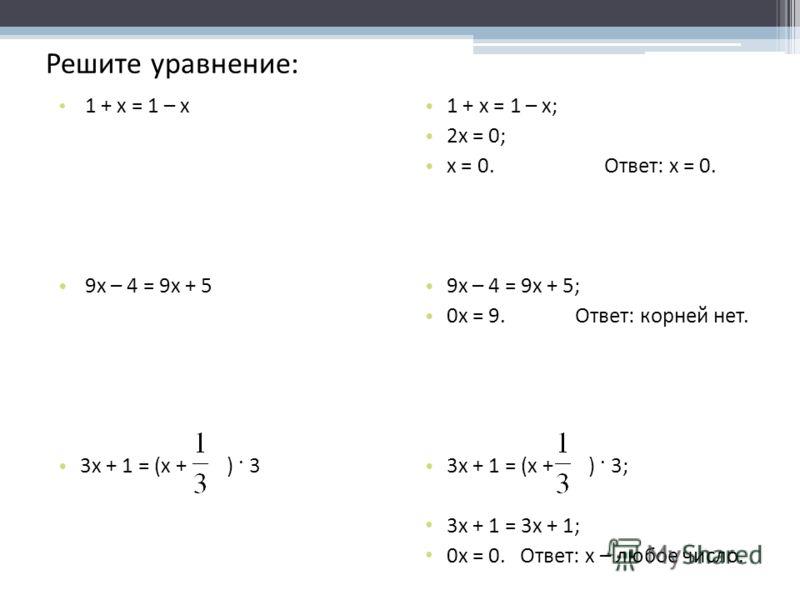 Решите уравнение: 1 + x = 1 – x 9х – 4 = 9х + 5 3х + 1 = (x + ) · 3 1 + x = 1 – x; 2x = 0; x = 0. Ответ: x = 0. 9х – 4 = 9х + 5; 0x = 9. Ответ: корней нет. 3x + 1 = (x + ) · 3; 3x + 1 = 3x + 1; 0x = 0. Ответ: x – любое число.