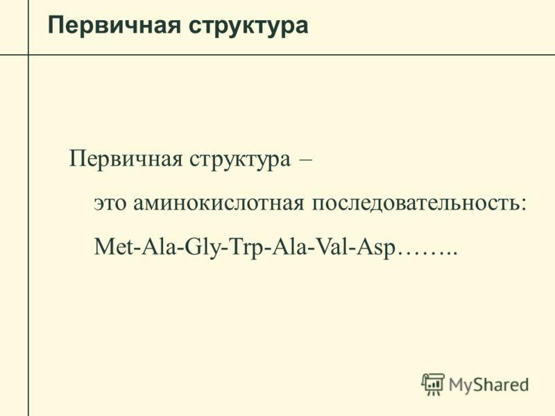 Первичная структура Первичная структура – это аминокислотная последовательность: Met-Ala-Gly-Trp-Ala-Val-Asp……..