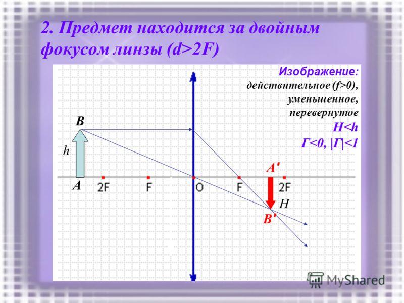 2. Предмет находится за двойным фокусом линзы (d>2F) h A B A'A' B'B' Изображение: действительное (f>0), уменьшенное, перевернутое H
