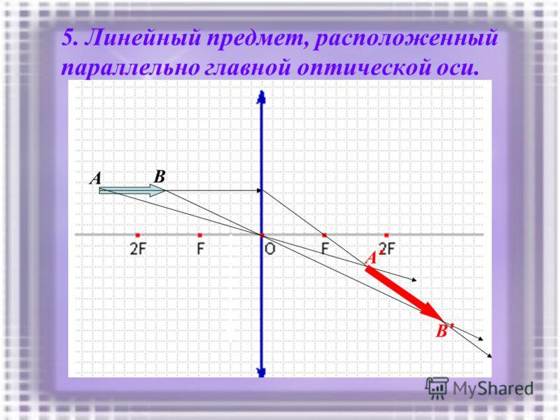 5. Линейный предмет, расположенный параллельно главной оптической оси. A B B'B' A'A'