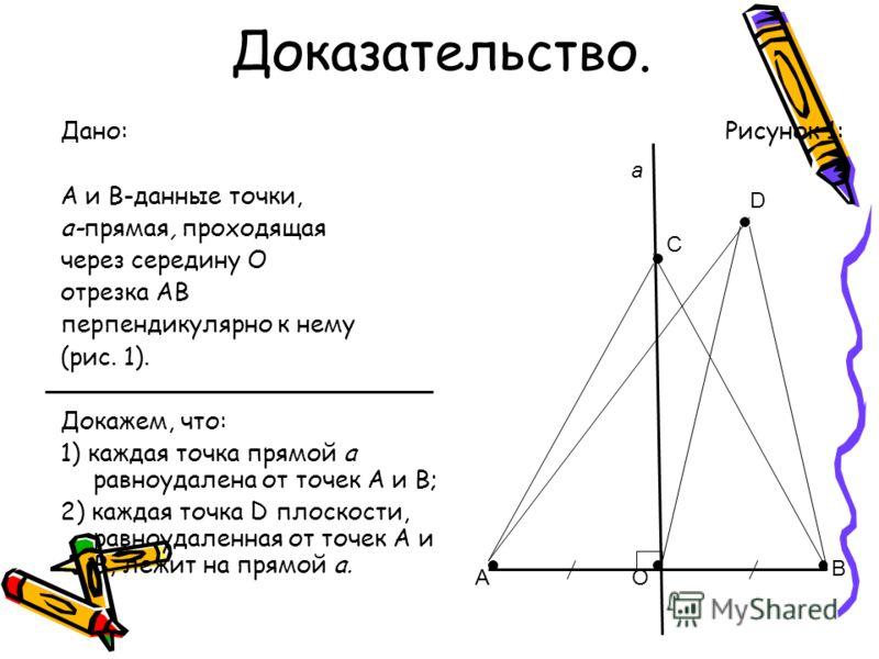 Доказательство. Рисунок 1:Дано: А и В-данные точки, а-прямая, проходящая через середину О отрезка АВ перпендикулярно к нему (рис. 1). Докажем, что: 1) каждая точка прямой а равноудалена от точек А и В; 2) каждая точка D плоскости, равноудаленная от т