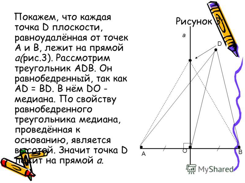 Рисунок 3: Покажем, что каждая точка D плоскости, равноудалённая от точек А и В, лежит на прямой а(рис.3). Рассмотрим треугольник АDВ. Он равнобедренный, так как АD = ВD. В нём DО - медиана. По свойству равнобедренного треугольника медиана, проведённ